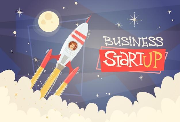 Rocket fly sky business man conceito de sucesso de inicialização