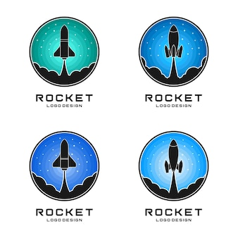 Rocket logo design vector set