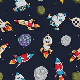 Rocket ou nave espacial com asteróide e estrela em padrão sem costura