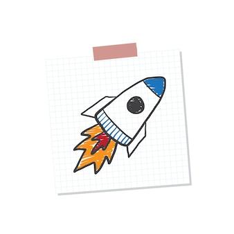 Rocketship start up ilustração de nota