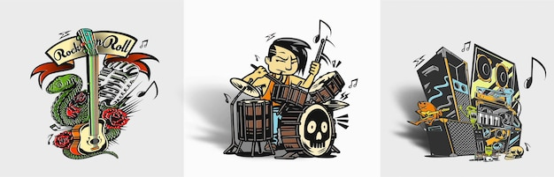 Rockstar boy tocando tambor ilustração vetorial de design de camiseta