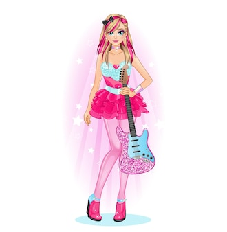 Rockstar girl guitar vestido fofo estilo rosa