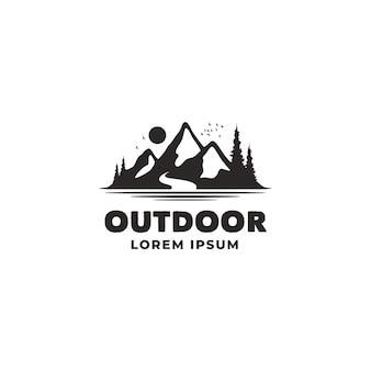 Rocky mountain river mount peak hill nature landscape view logo design