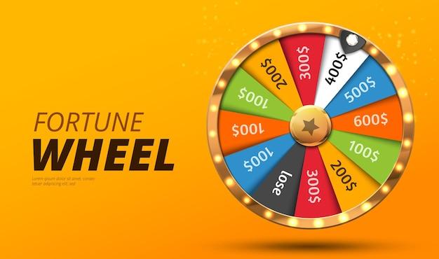 Roda colorida da sorte ou fortuna infográfico ilustração vetorial fundo de cassino online