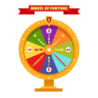 Roda da fortuna brilhante e dourada. ilustração, design plano.