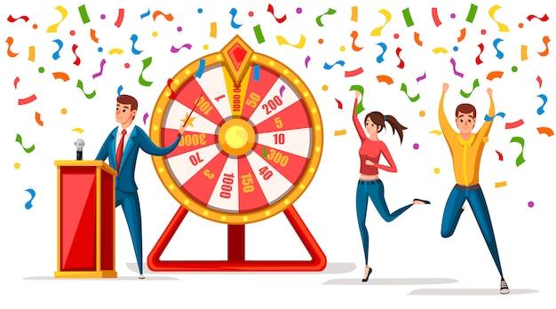 Roda da fortuna com homens e confetes. homens e mulheres vencedores. jogo da roda, o vencedor joga o estilo da sorte. ilustração em fundo branco