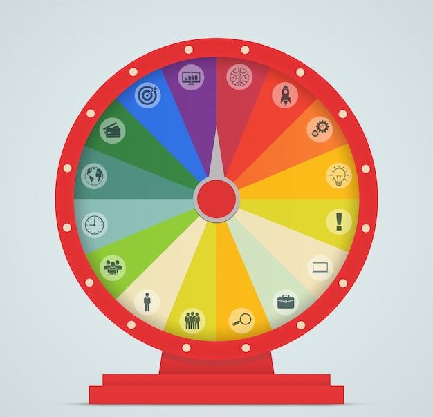 Roda da fortuna com ícone de negócios