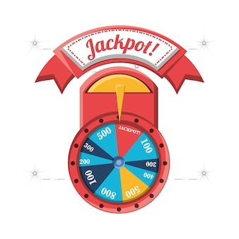 Roda da fortuna com sinal de jackpot