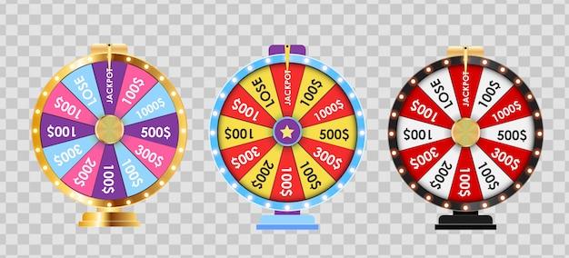 Roda da fortuna, conjunto de coleta de ícone da sorte. ilustração
