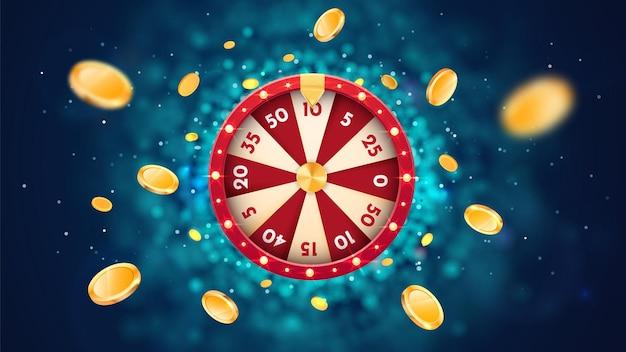 Roda da fortuna de vetor d com moedas voadoras de ouro na roleta de cassino de rotação de fundo abstrato azul e