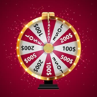 Roda da fortuna, ícone da sorte com lugar para texto.