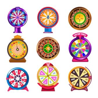 Roda da fortuna ícones de vetor de roleta de cassino