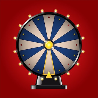 Roda da fortuna - imagem vetorial moderna realista. fundo vermelho. use esses elementos de clip-art de qualidade para o seu design. jogue um jogo de azar, roleta. ganhe um grande prêmio, ganhe um troféu.