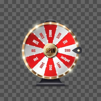 Roda da fortuna para jogar e ganhar o jackpot em fundo transparente. roleta da sorte. ganhe a roleta da fortuna. ilustração Vetor Premium