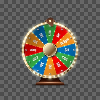 Roda da fortuna para jogar e ganhar o jackpot isolado no fundo transparente