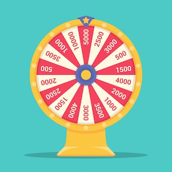 Roda da fortuna para o jogo em um design plano