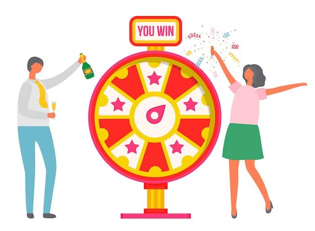 Roda da fortuna pessoas comemorando a vitória