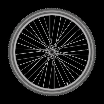 Roda de bicicleta em ilustração vetorial de qualidade de fundo branco