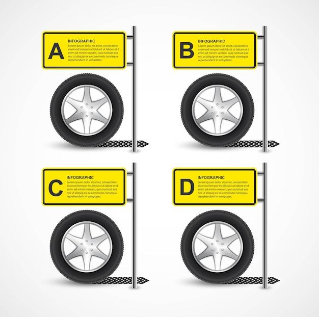 Roda de carro. modelo de design de infográfico.