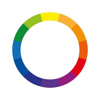 Roda de cores ou círculo de cores com doze cores que mostra as cores primárias