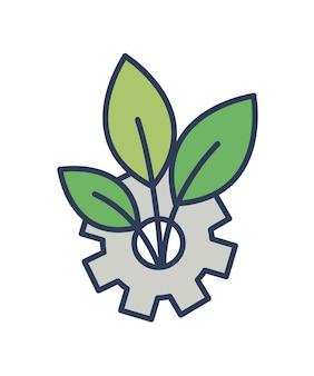 Roda de engrenagem e planta crescendo através dela isoladas em branco