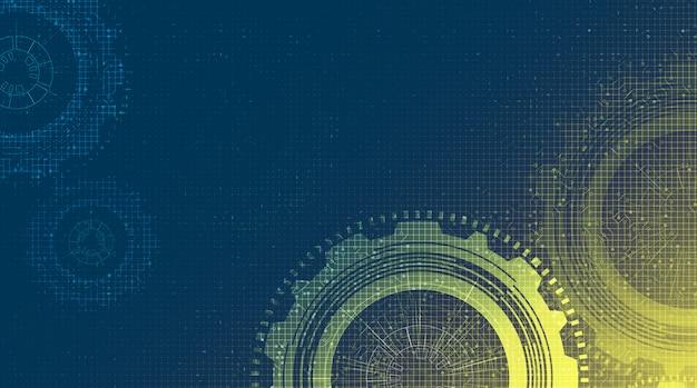 Roda de engrenagens da tecnologia do cyber e galo com linha fundo do circuito, ilustração.