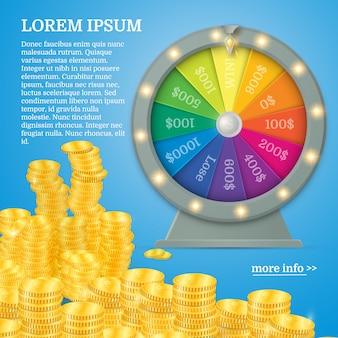Roda de fiar da fortuna em estilo vector plana