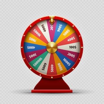 Roda de fortuna casino colorido realista em transparente