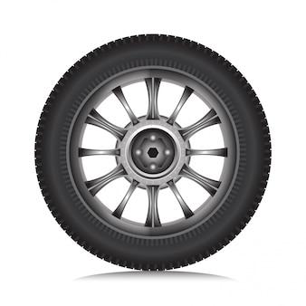 Roda de liga de carro com pneu