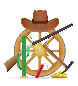 Roda de madeira com ilustração de itens de oeste selvagem cowboy
