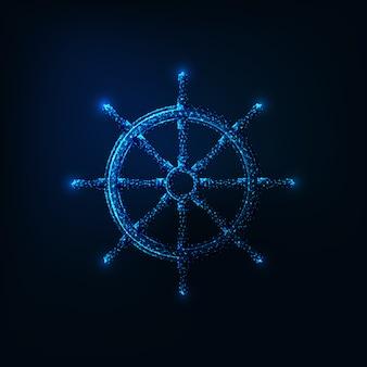 Roda de navio poligonal baixa futurista brilhante isolada em fundo azul escuro.