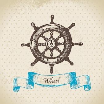 Roda de navios. ilustração desenhada à mão