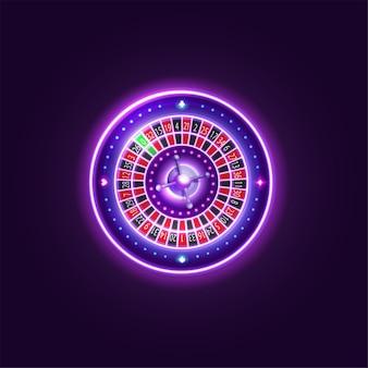 Roda de roleta de casino em neon rosa brilhante, elemento de casino digital