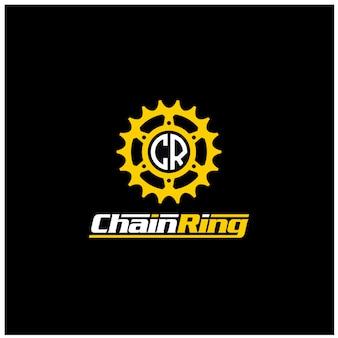 Roda dentada de roda dentada de engrenagem de engrenagem anel de corrente motor máquina bicicleta bycicle motor logo design
