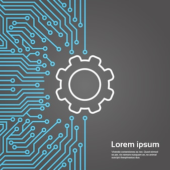 Roda dentada, sobre, chip computador, fundo moterboard rede, dados, centro, conceito, bandeira, conceito
