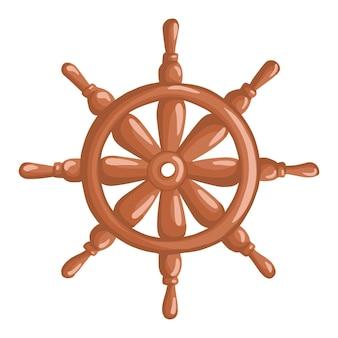 Roda do navio isolada no fundo branco. estilo de desenho animado. ilustração vetorial