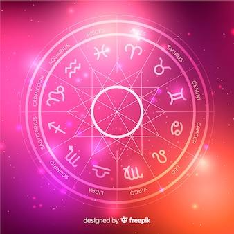 Roda do zodíaco em um fundo de espaço