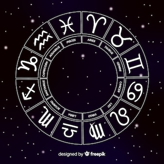 Roda do zodíaco no fundo do espaço