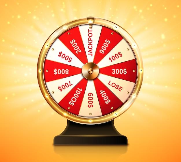 Roda dourada da fortuna para jogos de loteria ou chance de cassino de ganhar prêmios na roleta da sorte