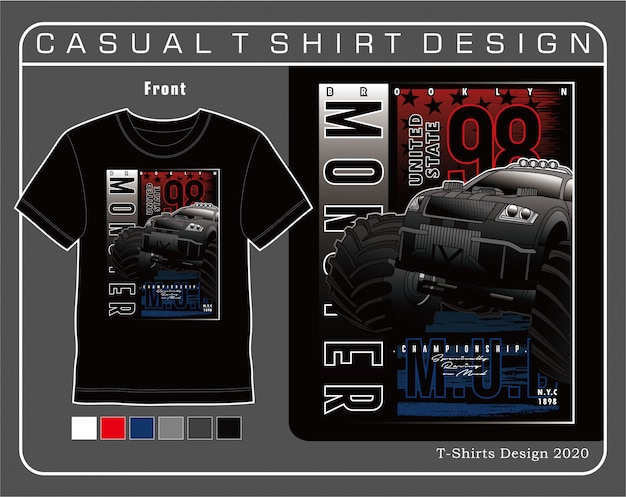 Roda gigante de carro monstro, ilustração de tipografia de carro para camiseta