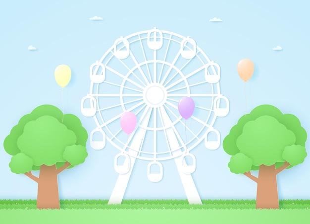 Roda gigante e árvores com balões coloridos voando, estilo arte em papel