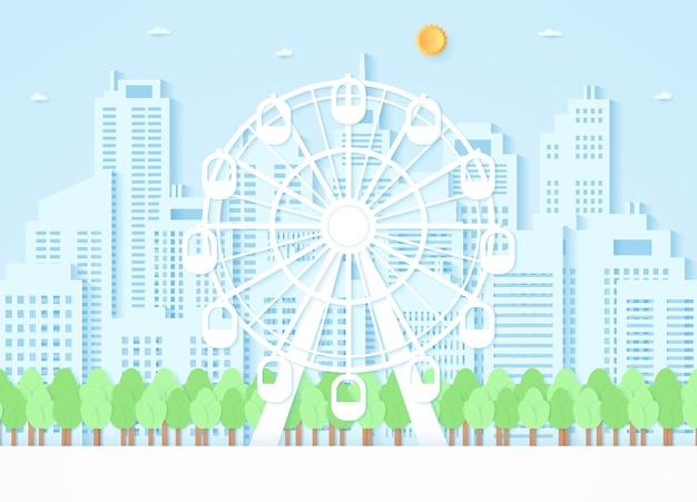 Roda-gigante e árvores com fundo de construção, estilo de arte em papel Vetor Premium