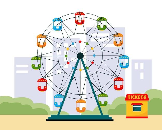 Roda gigante e bilheteira coloridas no parque da cidade.