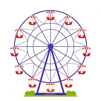 Roda gigante isolada. design plano.