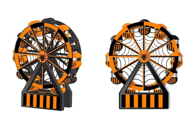 Roda gigante preta e laranja do dia das bruxas com teia de aranha e aranha