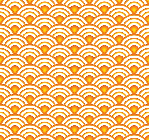 Roda japonesa padrão sem emenda, ouro fundo chinês
