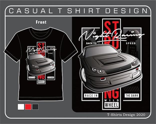 Roda selvagem forte, ilustração de tipografia de carro para t-shirting