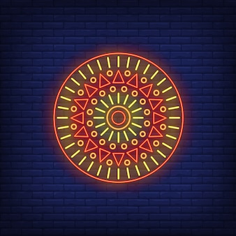 Rodada africano motivo mandala de néon