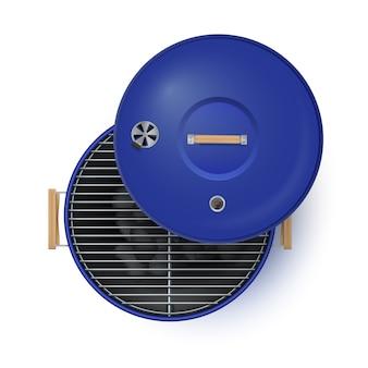 Rodada azul aberto grill vista superior realista