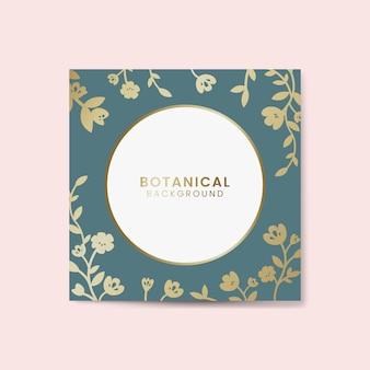 Rodada botânica ouro vetor emoldurado
